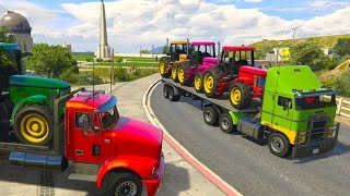Colors TRACTOR Transportation on Truck Cartoon for Kids