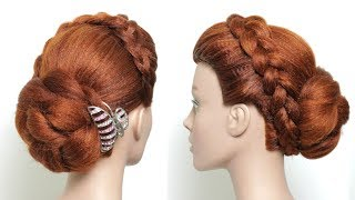 Juda Hairstyle With Clutcher. Simple Hair Bun For Wedding Or Party