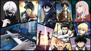 50 ANIME SONGS in 15 MINUTES!!! (Piano Medley - 10,000 Subs Special)