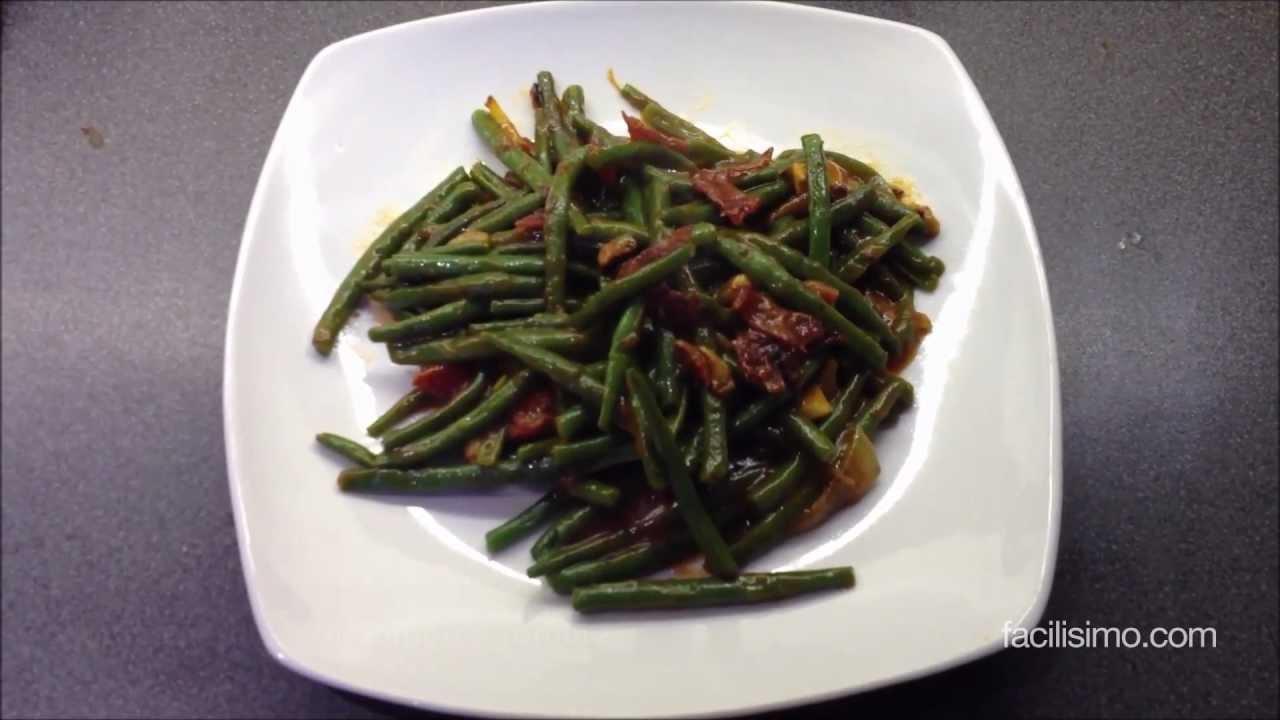 C mo hacer jud as verdes con jam n y tomate facilisimo - Como hacer judias verdes ...