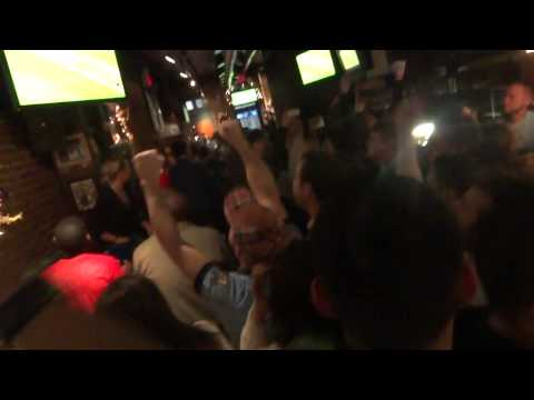 Manchester City Fans celebrate in Mad Hatter New York. Derby...