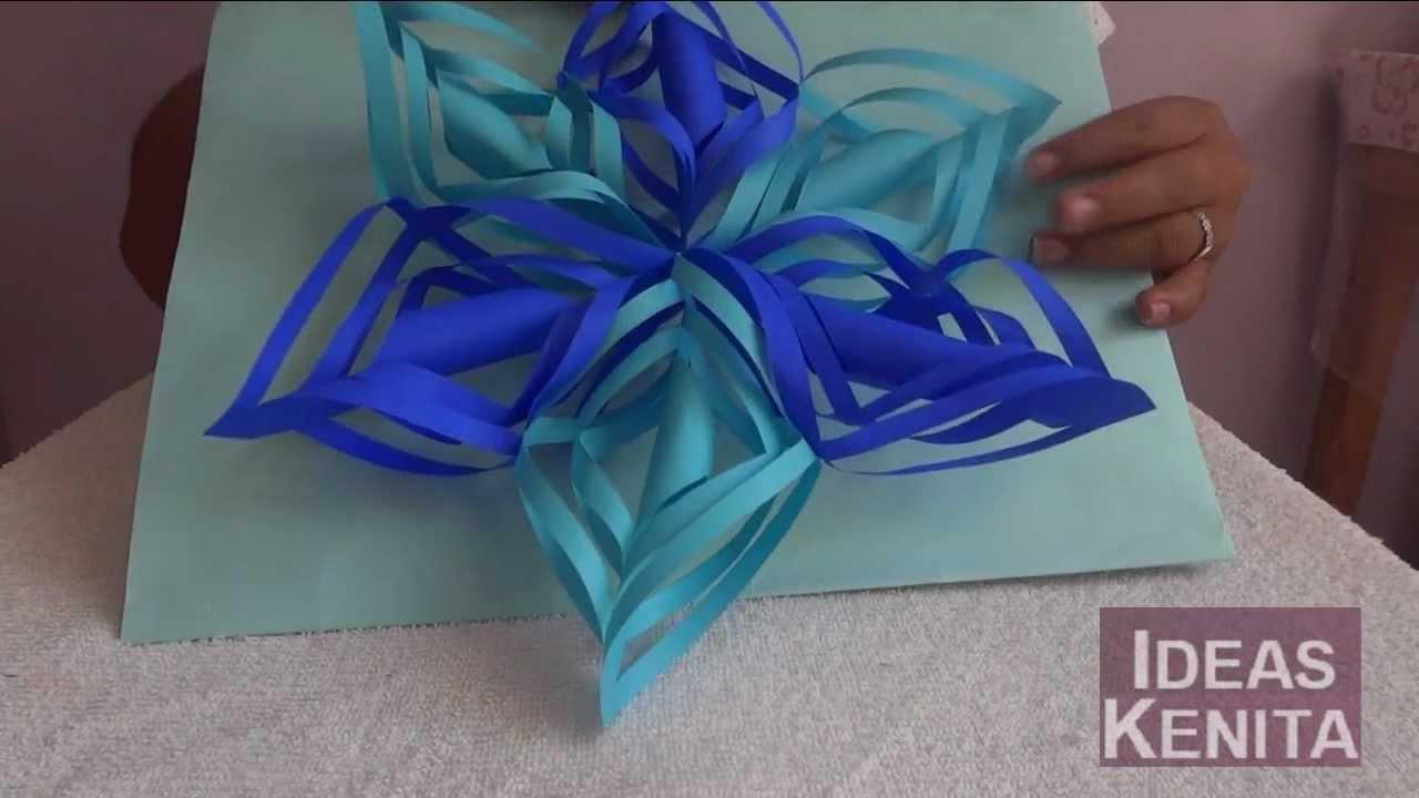 Copo de nieve en 3d de papel reciclado paso a paso 1 de 2 - Copos de nieve manualidades ...