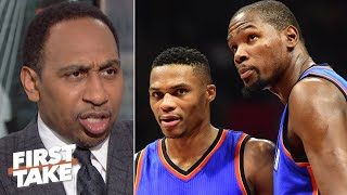 Russell Westbrook hasn't said a word about KD, so why is Kendrick Perkins? – Stephen A. | First Take