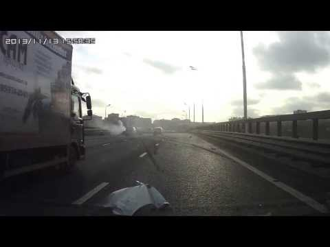 13 ноября 2013 г. авария Ростокинская эстакада 16-00