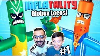 Luchas de Globos Locos | Inflatality Family Gaming | Juegos Karim Juega