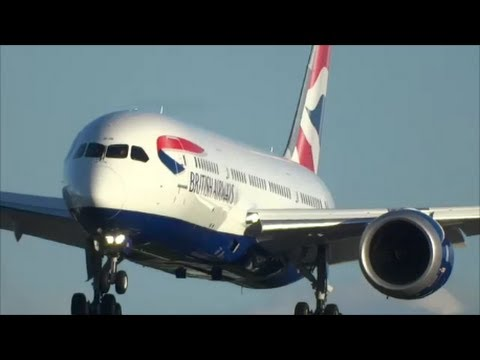 NEW 787 BRITISH AIRWAYS Flight and Landing