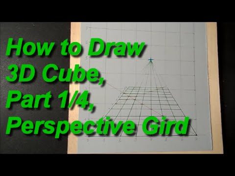 How to Draw 3D Cube, Part 1/4, Perspective Gird