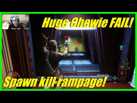 Star Wars Battlefront - Huge Chewbacca fail! | Awesome spawn kill rampage! (Carbon freezing chamber)