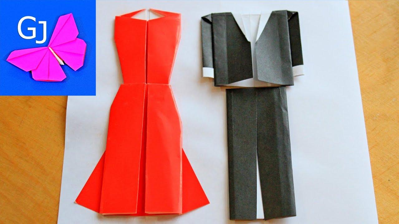 Оригами открытка платье 20