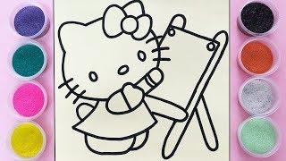 Chị Chim Xinh TÔ MÀU TRANH CÁT HELLO KITTY - Đồ chơi trẻ em - Colored sand painting toys
