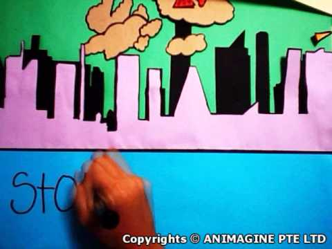 Air Pollution Paper Cut Out Animation