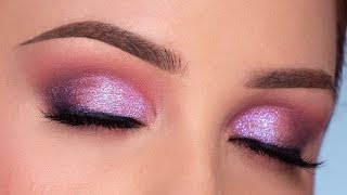SPARKLY Purple Smokey Eye Makeup Tutorial