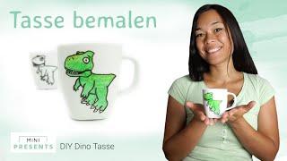 Do-it-yourself Dinosaurier Tasse bemalen   Idee zum Kindergeburtstag   mini-presents.com