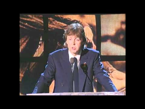 Paul McCartney inducts John Lennon into the Rock and Roll Hall of Fame