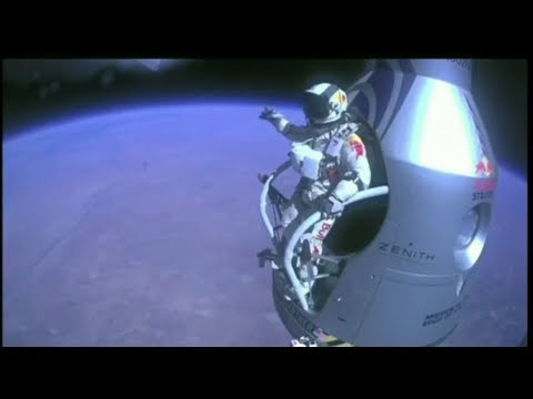 Red Bull Stratos - Skydiver Felix Baumgartner breaks sound barrier with world record free fall