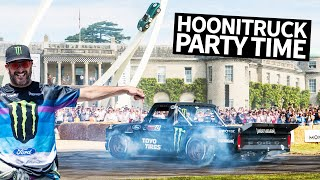 Ken Block's Hoonitruck Slays a Duke's Royal Driveway at Goodwood FOS 2019 + Cossie V2 Rally Action
