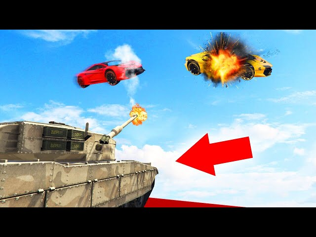 TANKS vs. FLYING CARS TAKEDOWN CHALLENGE! (GTA 5 Funny Moments)