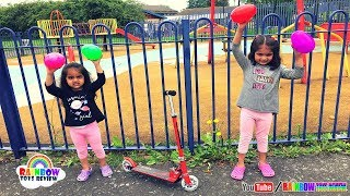 Ashu & Cutie Pretend Play in Children Playground Egg Hunt Challenge Toys for Kids Rainbow ToysReview