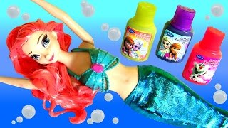 Frozen Elsa Cabelos Coloridos de Tinta - Disney Makeover Color Change Elsa into Mermaid Ariel