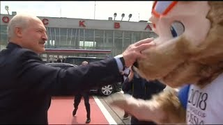 Belarus President Lukashenko plays soccer with Zabivaka at Moscow airport