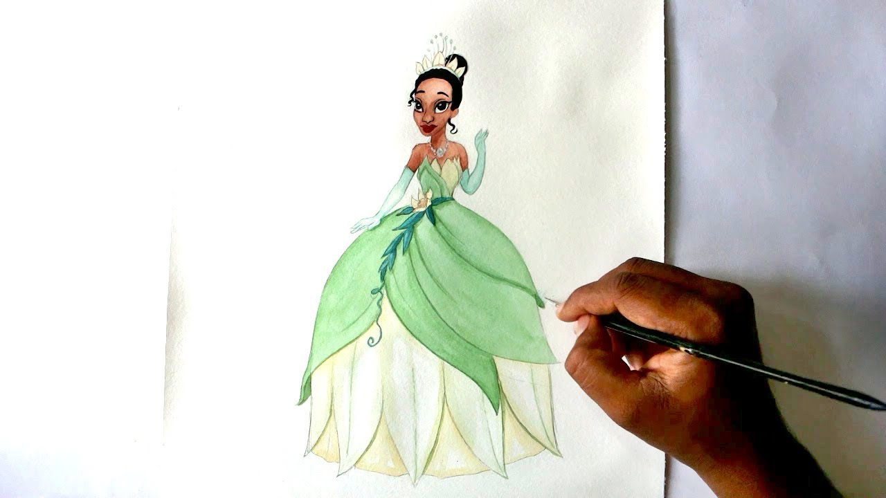 How To Draw Princess Tiana From The Princess And The Frog Movie Youtube How To Draw A Disney Princess Dress Free Coloring Sheets