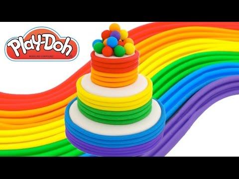 Play-Doh How to Make a Rainbow Tier Cake * Creative DIY for Kids * RainbowLearning