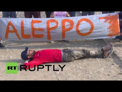 Greece: Syrian refugees at Idomeni stage protest in support of Aleppo