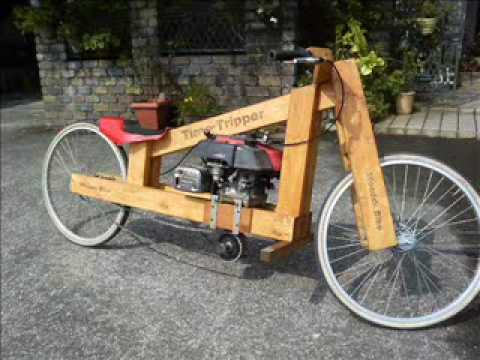 Homemade Wooden motorcycle second test run