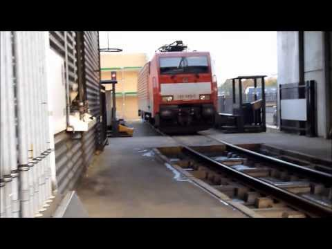 A Siemens Eurosprinter locomotive is brought to the workshop by Shunter
