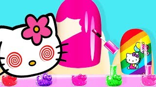 Baby Learn Colors & Play Hello Kitty Nail Salon | Fun Kids Girl games