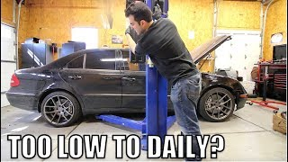 Here's How Low My Turbo Diesel Mercedes Sits On Coilovers & Why The Engine Won't Start (I Broke It)