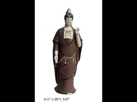 Chinese Hand Made Ceramic  Decorative Kwan Yin / Bodhisattva Statue s1069