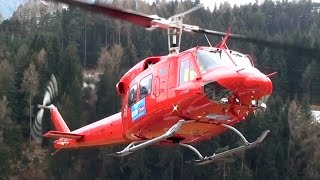Bell 212 Twin Huey engine start and take off from Karres Heli Austria base
