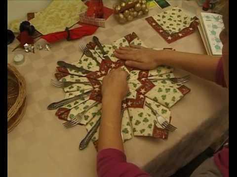 Ünnepi dekoráció készítés evőeszközökhöz, origami