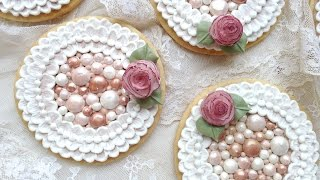 How To Decorate Cookies With Royal Icing Pearls and Brush Embroidery