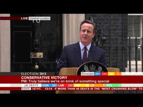 David Cameron pledges a 'greater Britain' - Election 2015 Results - BBC News