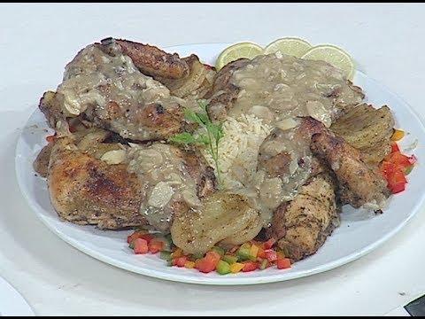طريقة عمل دجاج مشوى بصوص المشروم و اوراك دجاج بصوص الكركم من غفران كيالي حلقه هيك نطبخ