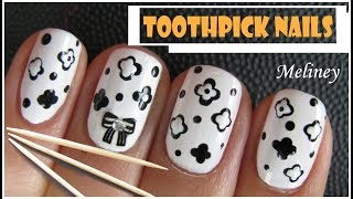 TOOTHPICK NAILS | EASY BLACK & WHITE FLOWER NAIL ART DESIGN USING DOTTING TOOLS DIY BEGINNERS HOW TO