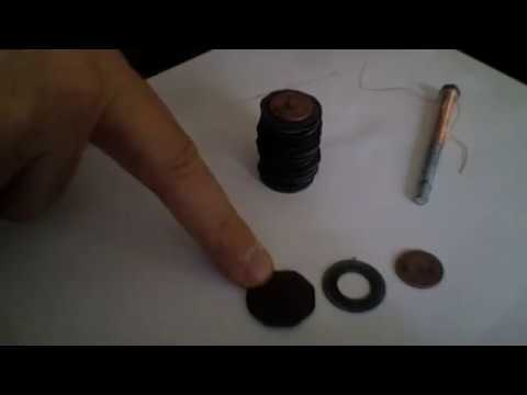 copper penny-zinc washer battery