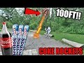 COKE AND MENTOS BOTTLE ROCKET EXPERIMENT!! (GOES 100 FT IN THE AIR)