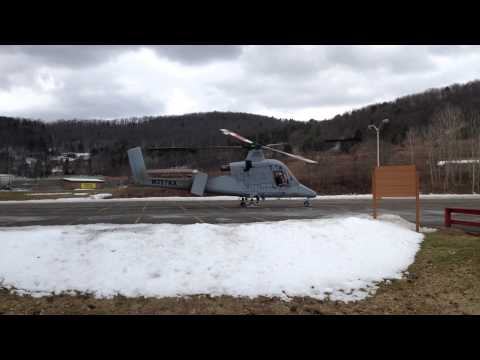 Lockheed KMAX Helicopter landing at SUNY Broome Community College