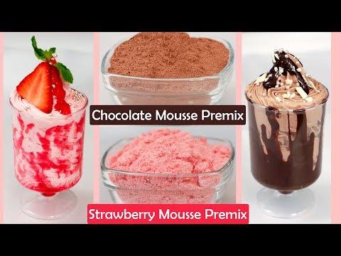 Chocolate Strawberry Mousse  Recipe Quick Easy Best Eggless Dessert Premix  चॉकलेट स्ट्रॉबेरी मूस