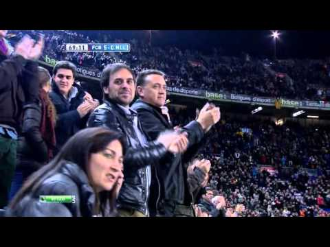 Abidal's return: Éric Abidal is given a standing ovation at Camp Nou
