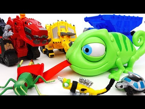 An Angry Chameleon Eats Everything~! Go Dinotrux, Let's Stop Him - ToyMart TV