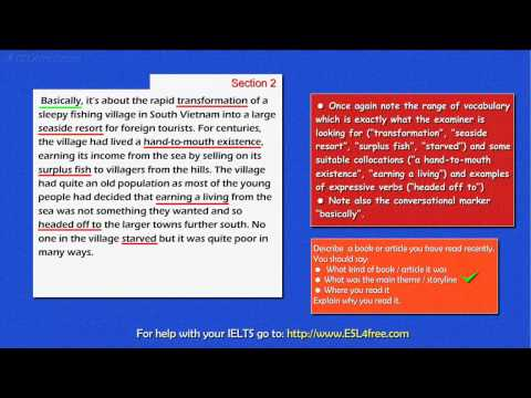 IELTS Speaking Exam Tutorial  - Part 2 of the IELTS Exam (A Book or Article)