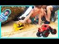 Construction Trucks Build a Sand Road for Monster Trucks