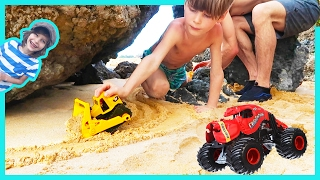 Construction Trucks Build a Sand Road for Monster Trucks