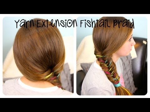 Yarn Extension Fishtail Braid | Color Highlights | Cute Girls Hairstyles