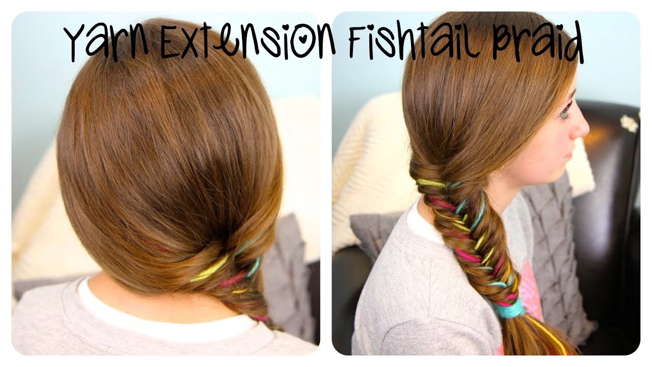 Hairstyles For School Yt : Yarn extension fishtail braid color highlights cute