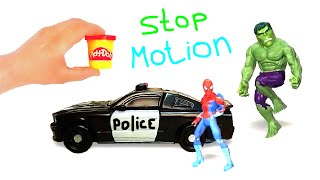 SpiderMan, Hulk and Kinder Surprise, Stop Motion Play Doh Cartoon Animated